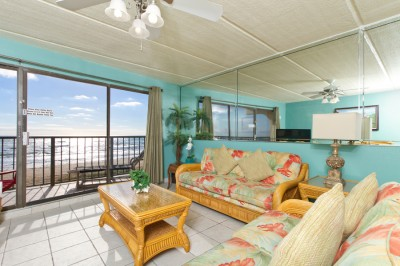 Living room with Oceanview, LCD TV, DVD, Sleeper Sofa and Balcony
